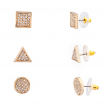 Pave Crystal Square Triangle Disc Circle Multiple Earrings Set