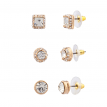 Pave Crystal Square Disc Multiple Earrings Set