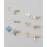Kids, Girls & Women's Pink & Blue Cross & Cubcake Stud Earring Set