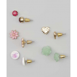 Kids, Girls & Women's Pink & Green Flower Stud Earring Set