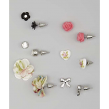 Kids, Girls & Women's Pink & Silver Flower & Bow Stud Earring Set