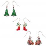 Glittery Christmas Tree Stocking and Santa Dangle Charm Earrings (3pc)
