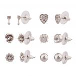 Arrow Rose Flower Sun Star Heart Pave Multiple Stud Earrings Set Women's Girls & Kids