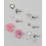 Kids, Girls & Women's Pink & Silver Key & Crown Stud Earring Set
