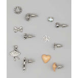Kids, Girls & Women's Silver & Peach Ballerina & Heart Stud Earring Set