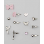 Kids, Girls & Women's Pink & Silver Fairy & Bow Stud Earring Set