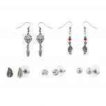 Tribal Dreamcatcher Leaf Ball Stud Dangle Earring Set (5 Pairs).