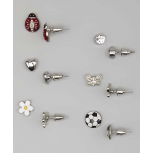 Kids, Girls & Women's White & Red Soccer & Ladybug Stud Earring Set