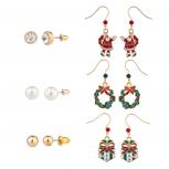 Christmas Multi Earrings Set (6pc) Santa Wreath and Present