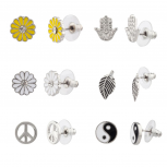 Hamsa Yin Yang Leaf Sunflower Peace Sign Floral Flower Stud Earrings Set
