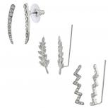 Silvertone Rhinestone Crystal Ear Creeper Multi Earring Set 3PC