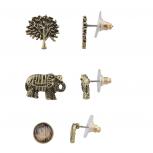 Boho Burnish Gold Tree of Life Elephant Multi Earring Set (3PCS)