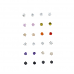 SilverTone Assorted Color Mini Faux Rhinestone Earring Pack 12PC