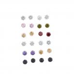 Silvertone Assorted Color Medium Rhinestone Earring set 12P