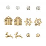 Gold Tone Crystal pearl Holiday Snowflake Reindeer Earring Set