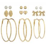 Gold Tone Textured Hoop Rhinestone Bow Leaf Heart Earring Set