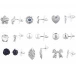 Silvertone Crystal Rhinestone Novelty Stud Earrings Pack 9PCS