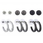 Silver Hematite Black Tone Crystal Caviar Stud Huggie Hoop Set