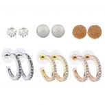 Silver Gold Rose Gold Tone Crystal Caviar Stud Huggie Hoop Set