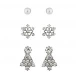 Silver Tone pearl Crystal Rhinestone Christmas Tree Earring Pack