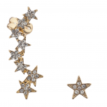 Gold Tone Pave Stone Edgy Star Ear Celestial Crawler Ear Cuff
