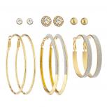GoldTone Crystal Rhinestone Silver Glitter Stud Hoop Earring Set