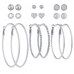 SilverTone Crystal Silver Heart Stud Textured Hoop Set 9pc