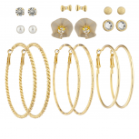 Gold Tone Crystal Bow Pearl Fabric Flower Stud Hoop Earring Set