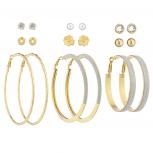 GoldTone Crystal Pearl Knot Flower Stud Glitter Hoop Earring Set