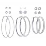 SilverTone Crystal Pearl Flower Stud Glitter Hoop Earring Set