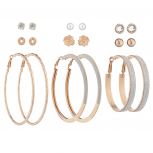 Rose GoldTone Crystal Pearl Flower Stud Glitter Hoop Earring Set