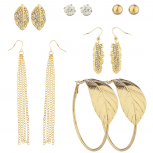 Gold Tone Crystal Rhinestone Assorted Leaf Multiple Earring Set