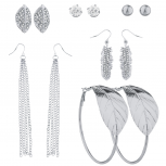 SilverTone Crystal Rhinestone Assorted Leaf Multiple Earring Set