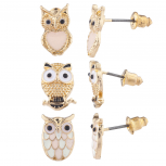 Gold Tone Three Triple Pastel Owl Stud Post Earring Set (3prs)