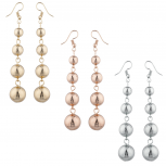 Gold Silver Rose Gold Tone Multi Ball Drop Earring Set 3prs