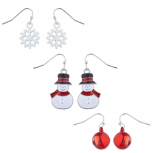 Silver Tone White Red Snowflake Snowman Bell Winter Earring Set