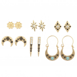 Burmish Gold Aztec Tribal Etched Turq Multi Earring Set 6PCS