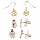 Gold Tone White Red Snowflake Snowman Santa Christmas Earrings