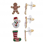 Gold Tone Gingerbread Man Snow Man Stocking Christmas Earrings