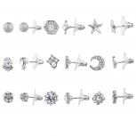 Silver Tone Crystal Rhinestone Star Moon Multi Earring Set 9pc
