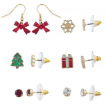 GoldTone RedGreen Crystal Christmas Xmas Holiday Earring Set 6pc