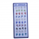 Assorted Color Rhinestone Cross Religious Multi Earring Set 20PC