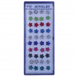 Assorted Color Rhinestone Floral Flower Multi Earring Set 20PC