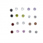 Multicolor Solitaire Birth Stone Rhinestone Earring Pack 10PR
