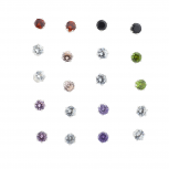 Mini Solitaire Birthstone Faux Rhinestone Earring Pack 10PR