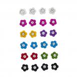 Mini Enamel Petal Flower Floral Rhinestone Multi Earring Set 12P
