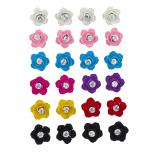 Enamel Petal Flower Floral Rhinestone Multi Earring Set 12PC