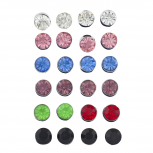 Multicolor Solitaire Birth Stone Rhinestone Earring Pack 12PC