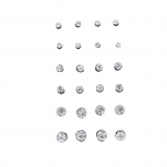 Silver Tone Assorted Size Solitaire Rhinestone Earring Pack 12PC