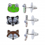 Silver Tone Enamel Frog Raccoon Fox Stud Multi Earring Set 3PR